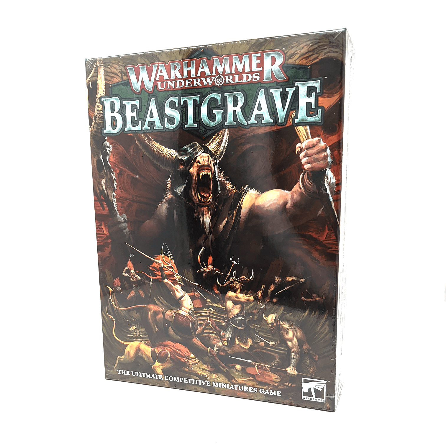 Warhammer Underworlds: Beastgrave box front: The Ultimate Competitive Miniatures game: demons fight in a cave corridor