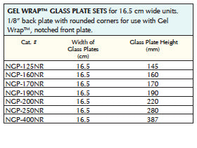 Vertical Gel Wrap™ Glass Plate Sets for use with 16.5cm wide units