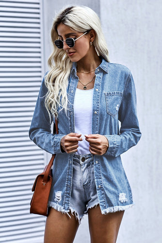 Women's Shirt Collar Ripped Denim Jacket