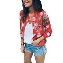Load image into Gallery viewer, Casual Zipper Up Flower Printed Baseball Coat - ShopAndGo.Online
