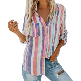 Fashionable Casual Multicolor Striped Button-up Cuffed Sleeve