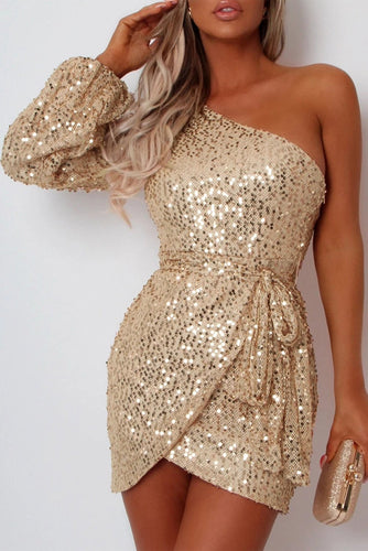 Apricot One-shoulder Lantern Sleeve Sequins Tied Waist Party Mini Dress