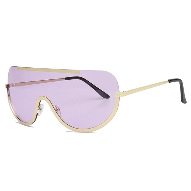 Retro Inspired Women Sunglasses Oversize Shield Metal Half Frame Eyeglasses Frame - ShopAndGo.Online