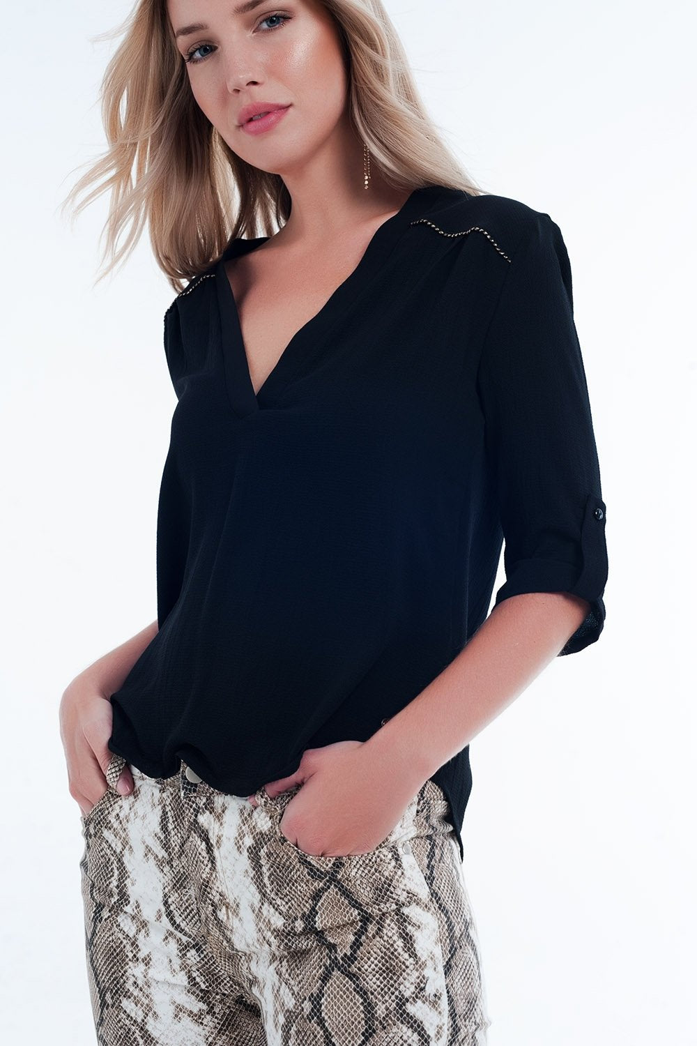 Blouse With Embellished Detail in Black - ShopAndGo.Online