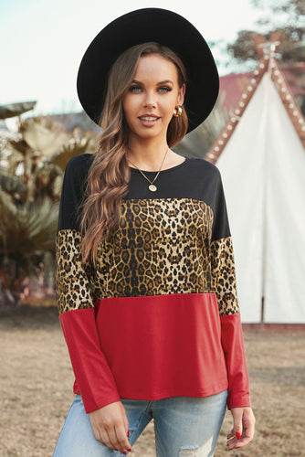 Burgundy Black Colorblock Leopard Patchwork Long Sleeve Top