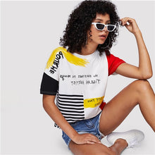 Load image into Gallery viewer, Letter Print Striped Brush Tee - ShopAndGo.Online