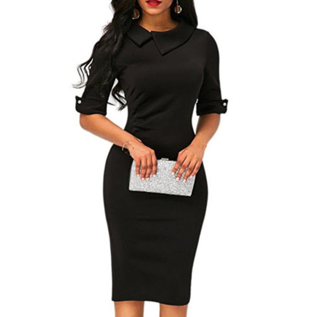 Short-sleeved Knee-length Dress - ShopAndGo.Online