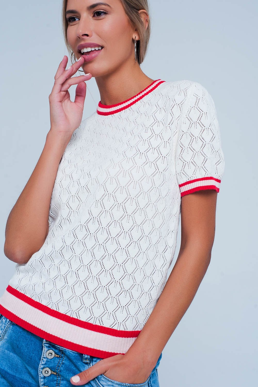 White Open Knit Sweater in Geo Pattern - ShopAndGo.Online