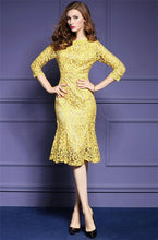 Load image into Gallery viewer, Spring Lace Three Quarter Sleeve Slim Dress - ShopAndGo.Online