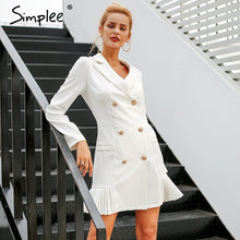 Load image into Gallery viewer, Simplee Elegant ruffle double breasted women dress - ShopAndGo.Online