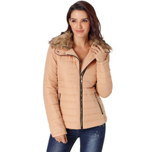 Load image into Gallery viewer, Winter Womens Faux Fur Collar Zip Up Quilted Jacket - ShopAndGo.Online