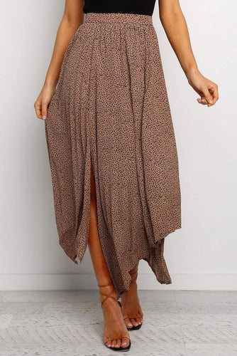 Brown Fashion Print Asymmetrical Side Slit Pleated Maxi Skirt