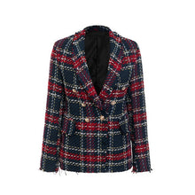 Load image into Gallery viewer, Tassel wool tweed red blazer - ShopAndGo.Online