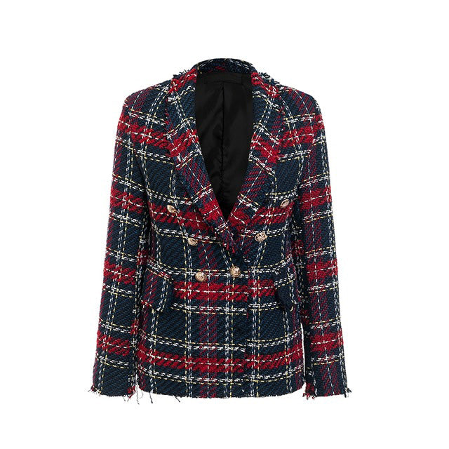 Tassel wool tweed red blazer - ShopAndGo.Online