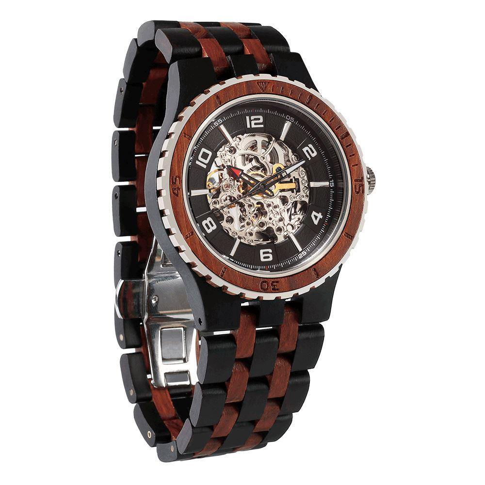 Men's Premium Self-Winding Transparent Body Ebony Rosewood Watches - ShopAndGo.Online