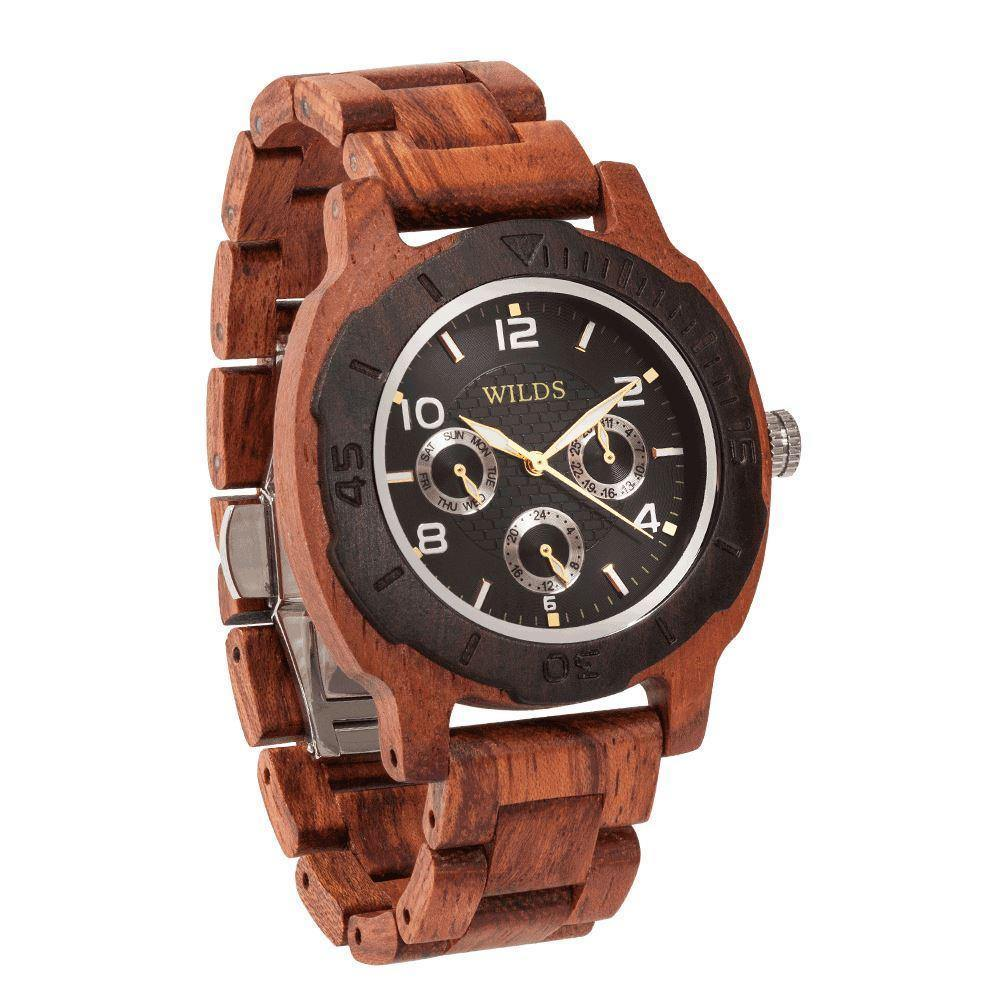 Men's Multi-Function Custom Kosso Wooden Watch - Personalize Your Watch - ShopAndGo.Online
