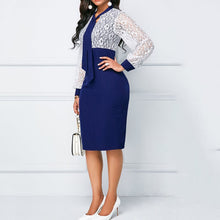 Load image into Gallery viewer, Blue Lace Puff Sleeve Bodycon Dress - ShopAndGo.Online