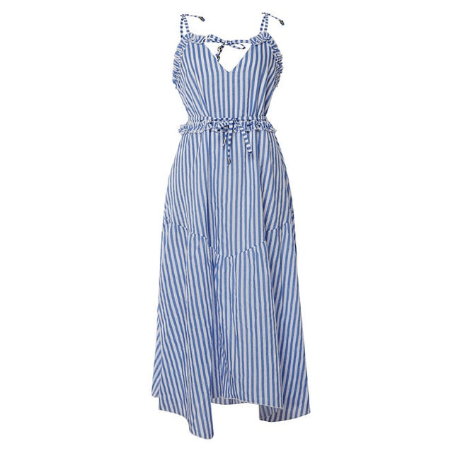 Irregular Ruffle Hem Midi Striped Dress - ShopAndGo.Online