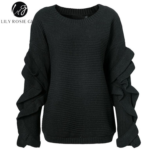 Lily Rosie Girl Casual Off Shoulder Knitted Sweater - ShopAndGo.Online