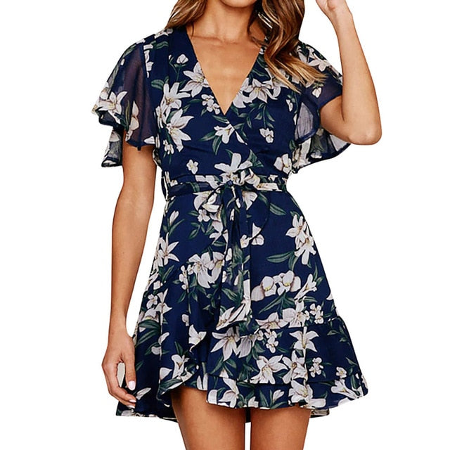 Floral Print Short Sleeve Mini Dress - ShopAndGo.Online