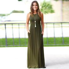 Load image into Gallery viewer, Solid Long Boho Dress - ShopAndGo.Online