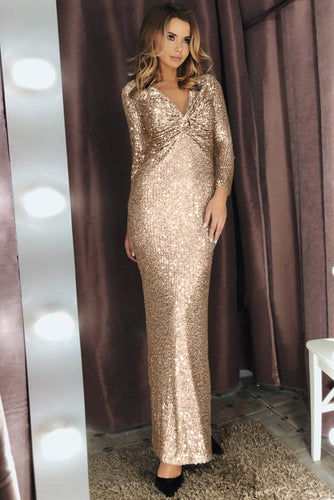 Apricot V Neck Twist Ruched Long Sleeve Maxi Sequin Party Dress