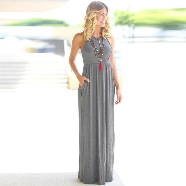 Solid Long Boho Dress - ShopAndGo.Online