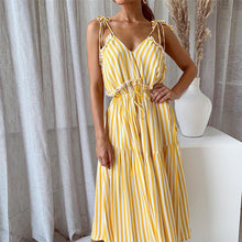 Load image into Gallery viewer, Irregular Ruffle Hem Midi Striped Dress - ShopAndGo.Online