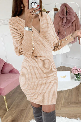 Beige Wrap V Neck Batwing Sleeves Ribbed Bodycon Sweater Dress