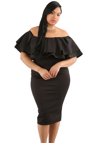 Black Layered Ruffle Off Shoulder Curves Dress