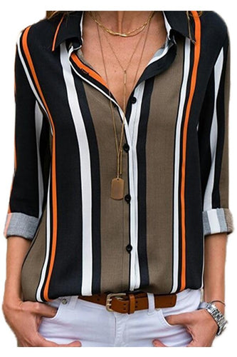 Black Brown Striped Modern Button Women Shirt - ShopAndGo.Online