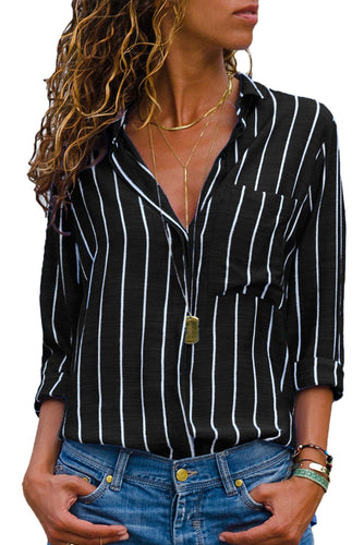 Black Striped Roll Tab Sleeve Women's Button Down Shirt - ShopAndGo.Online