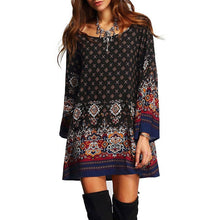 Load image into Gallery viewer, Bohemia Round Neck Graphic Printing Loose Dress - ShopAndGo.Online