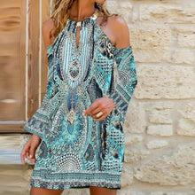 Load image into Gallery viewer, Bohemian Cool Shoulder Ethnic Printed Dress - ShopAndGo.Online