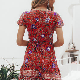 Simplee Bohemian Floral Mini Dress