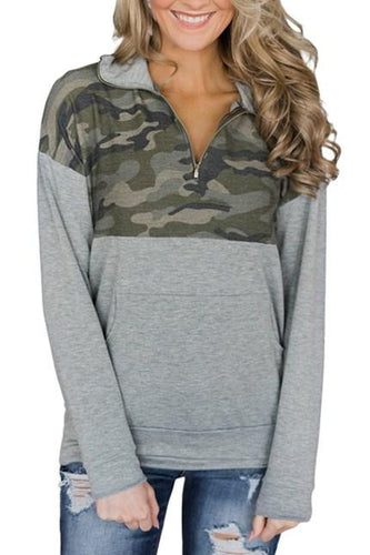 Camo Splice Gray Kangaroo Pocket Zip Collar Sweatshirts - ShopAndGo.Online