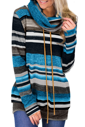 Casual Blue Multicolor Cowl Neck Striped Long Sleeve Sweatshirt - ShopAndGo.Online