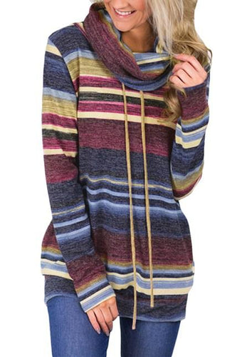 Casual Blue Multicolor Cowl Neck Striped Sweatshirt - ShopAndGo.Online