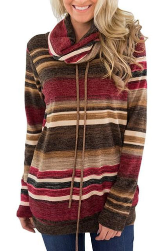 Casual Red Multicolor Cowl Neck Striped Sweatshirt - ShopAndGo.Online