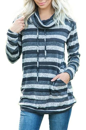 Charcoal Multicolor Cowl Neck Striped Long Sleeve Sweatshirt - ShopAndGo.Online