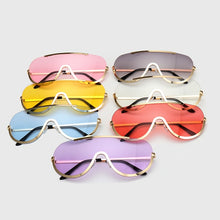 Load image into Gallery viewer, Retro Inspired Women Sunglasses Oversize Shield Metal Half Frame Eyeglasses Frame - ShopAndGo.Online