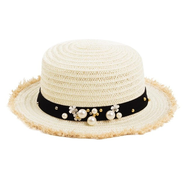 Women's Daisy Flower Rhinestone Inlaid Flat Top Hat - ShopAndGo.Online