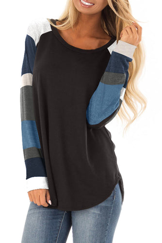Fashion Color Block Long Sleeves Black Pullover Top - ShopAndGo.Online