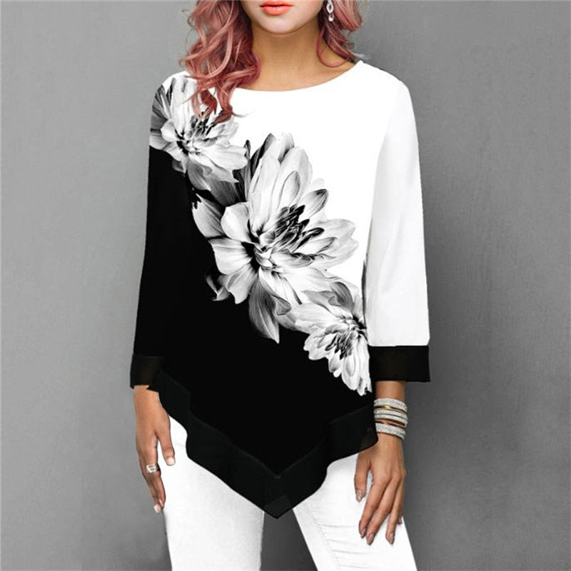 Spring Summer Floral Printing Blouse 3/4 Sleeve - ShopAndGo.Online