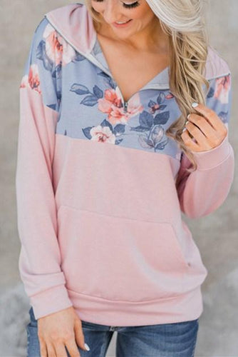 Hot Floral Splice Pink Kangaroo Pocket Zip Collar Sweatshirt - ShopAndGo.Online