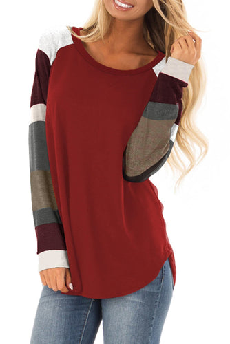 Hot Sale Color Block Long Sleeves Burgundy Pullover Top - ShopAndGo.Online