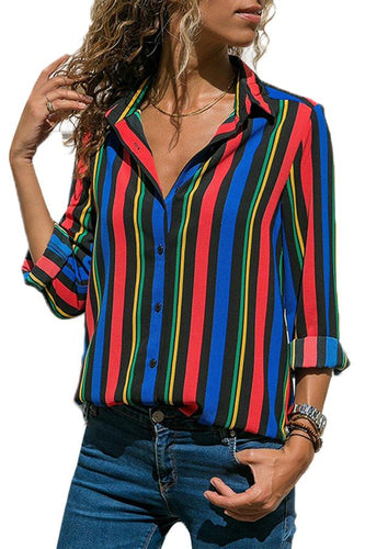 Multicolor Striped Modern Button Women Shirt - ShopAndGo.Online