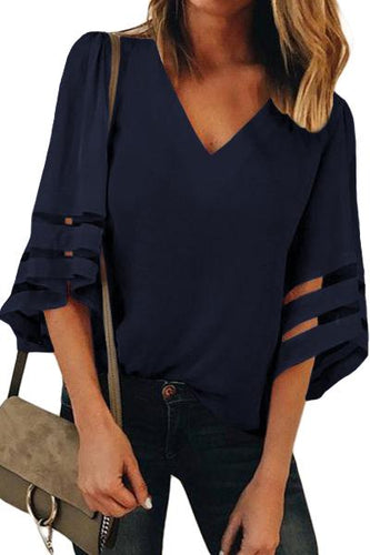 Navy Blue Flare Sleeve V Neck Loose Women's Chiffon Blouse - ShopAndGo.Online