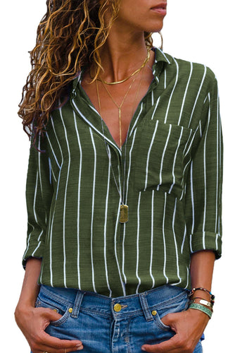 Olive Green Striped Roll Tab Sleeve Women's Button Down Shirt - ShopAndGo.Online