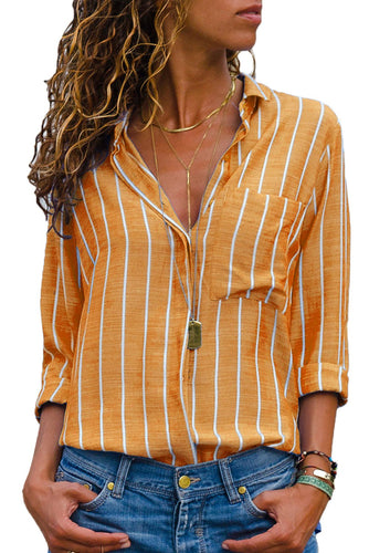 Orange Striped Roll Tab Sleeve Women's Button Down Shirt - ShopAndGo.Online